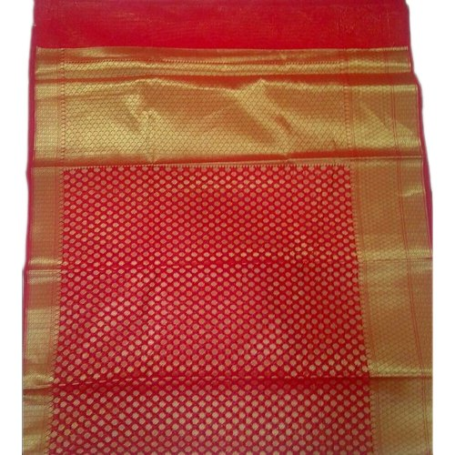 Galaxy Arts Party Wear Banarasi Chanderi Cotton Saree, With Blouse, 5.5 M (separate Blouse Piece)