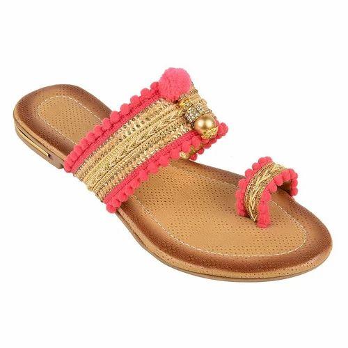 8bb28b94900 Casual Wear Visteria Kolahpuri Peach Sandal