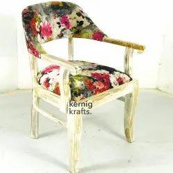 Brown Wooden Kernig Krafts Upholstered Indian Lounge Arm Chair, For Cafe, Cafeteria & Restaurant, Size: 23x23x33 Cm