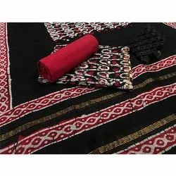 Vastrang Casual Black and Red Chanderi Suit Fabric