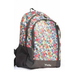 Floral Nylon Girls Backpack, Capacity: 21 Ltrs