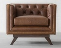 Single Seater Canvas Sofa, Leather Furniture