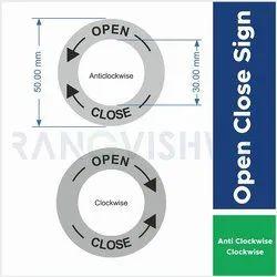 Vinyl Standard Open - Close Sign for Panel Door, Shape: Round