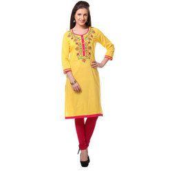 Ladies Yellow Embroidered Kurti