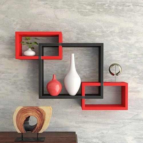 decornation intersecting set of 3 wall shelves red black at rs rh indiamart com 3 wall shelf tv stand 3 wall shelves