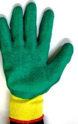 Yellow Cotton Yarn Knitted Latex Gloves