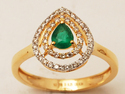 Simple Green Gemstone Diamond Rings