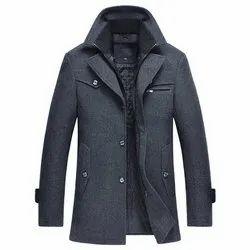 Mens Woolen Plain Coat, Size: L - XXL