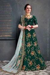 Taffeta Silk Semi-Stitched Light Pink Wedding Green Lehenga Choli for London Bridal Boutique