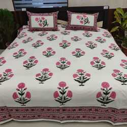 Bed Sheet in Colorful and Hand Block Print With Two Pillow Cover