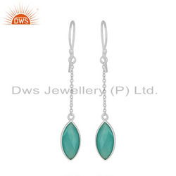 Aqua Chalcedony Gemstone Fine Silver Chain Hook Drop Earrings Jewelry
