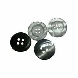 Grey and Black Round Plastic Shirt Button, for Garments