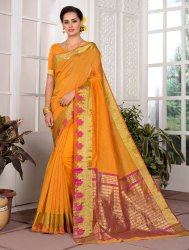 Yellow Cotton Silk Saree with Zari Border, 6.3 M