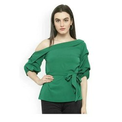 Party Plain Ladies Green Top