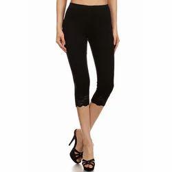 Lycra Cotton Ladies Black Capri, Size: S-XL