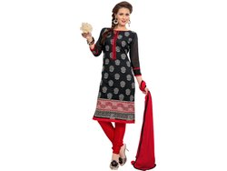 Black and Red Coloured Unstitched Dress Material