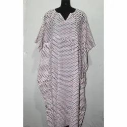 Indian Hand Block Print Cotton Long Kaftan Dress