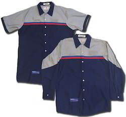 Cream Blue Polyester Technician Uniform