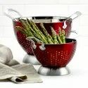 Red Color 2 Pc Stainless Steel Colander