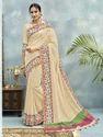 White Color Chanderi Cotton Weaving Saree with Blouse Piece