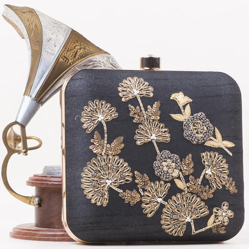 Black Raw-Silk Embroidered Clutch Bags