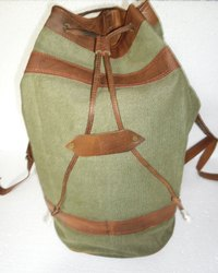 Canvas Leather Hiking Backpack