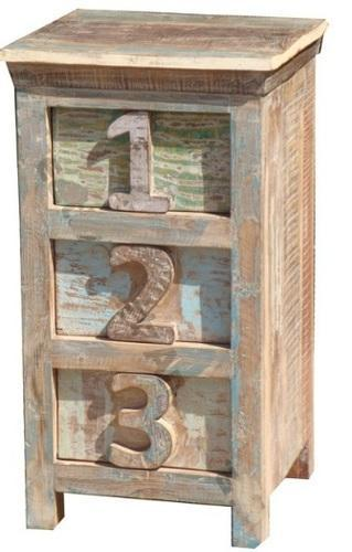 Reclaimed Three Drawer Number Bedside