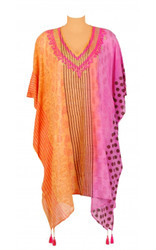 Printed Beachwear Cover Up Kaftans with Tassels