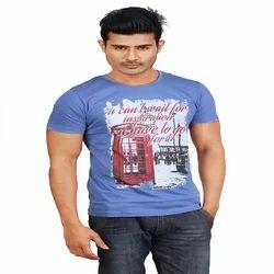 Royalblue Cotton Half Sleeve Men Casual T Shirt, Size: Small, Medium, Large, XL