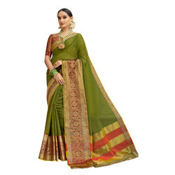 Green-Olive Colored Festive Wear Cotton Silk Saree