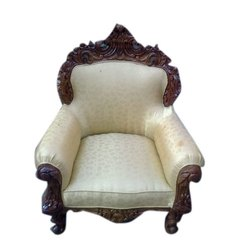 Brown And White Stylish Wooden Sofa Chair