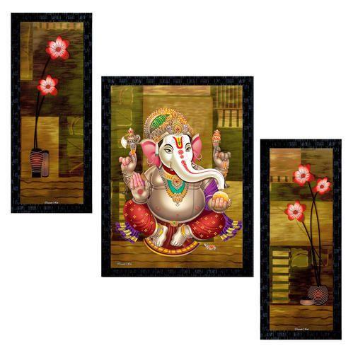 Set Of 3 Modern Art Lord Ganesha Framed Wall Painting Ptu543