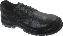 Leather Black Safety Shoes with Protective Basis and Antistatic, Steel Midsole, Oil Resistant