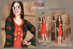 Girl Friend Vol-11 Stylish Designer Heavy Rayon Printed Kurti With Jacket