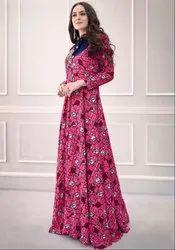 Rani Pink Printed Rayon Gown