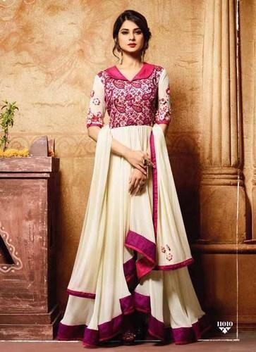 Silk White Semi Stiched Mugdha Salwar Suit