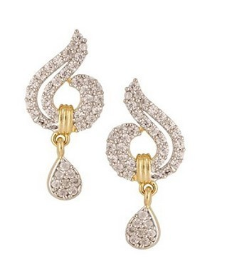 Gold Plated Cz American Diamond Earring