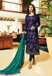 Embroidered Female Designer Party Wear Churidar Suit With Printed Inner
