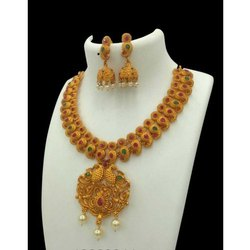 Golden Artificial Gold Plated Necklace Sets