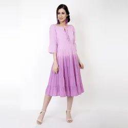 Ombre Cotton Violet Color Midi Dress