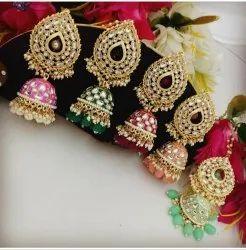 Brass Golden Fancy Artificial Earrings Set, Size: Up to 2.5 inch Length