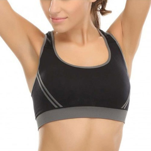 fd06ed9b422f0 Black and grey nylon spandex ladies sports bra jpg 500x500 Nylon sports bra
