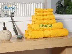 Vibrant Yellow Plain Divine Overseas Elegance 6 pcs Family Towel Set