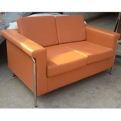 Modern Orange Two Seater Sofa, Clearance From Floor: 5 Inch