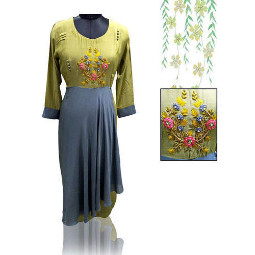 Muslin Full Sleeve Fancy Party Wear Kurti, Size: 42 - 46