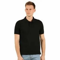 Mens Polo Neck Black T Shirts
