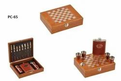 Chess With Hip Flask And Shot Glasses