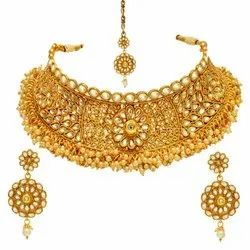Party Wear Gold Plated Kundan Necklace Set, Packaging Type: Packet