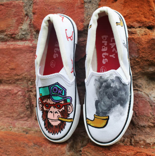 105ab7e74c3 Hand Painted Canvas Shoes Funny Monkey Swag - LazyBrats