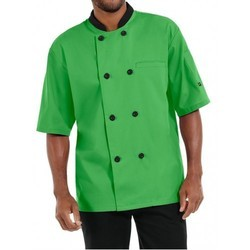 Chef Coat P Green Short Sleeve Twill Weave Fabric Suzuki Mills